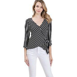 3/4 Sleeve Surplice Faux Wrap Top with Side Tie